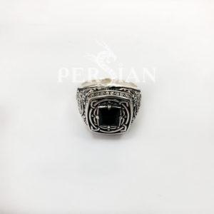 Мусульманский перстень «Во Имя Аллаха» из серебра с чёрным агатом