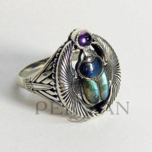 Перстень «Скарабей» с лабрадоритом и аметистом