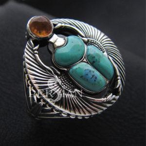 Перстень «Скарабей» с бирюзой и янтарём