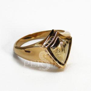 Золотой перстень «Щит Короля Хлодвига» с чёрными цирконами