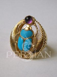 Перстень «Скарабей» с аметистом и бирюзой