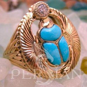 Перстень «Скарабей» с топазом и бирюзой