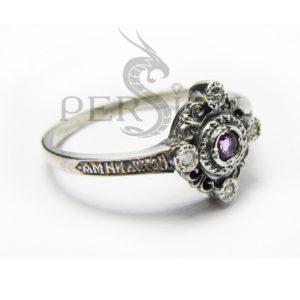 Серебряное кольцо «Спаси и Сохрани» с аметистом