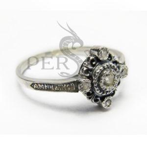 Серебряное кольцо «Спаси и Сохрани» со скай топазом