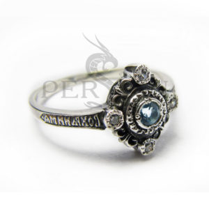 Серебряное кольцо «Спаси и Сохрани» со свисс топазом