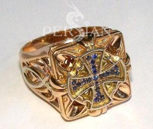 Золотой перстень «Спаситель» с сапфирами