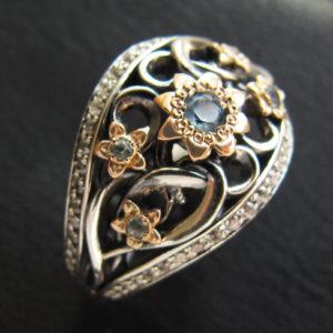 Серебряное кольцо с свисс топазами
